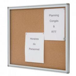 Vitrine d'intérieur fond liège | coins plastique | vitre plexiglas | 4 feuilles
