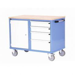 Etabli d'atelier mobile porte et tiroirs