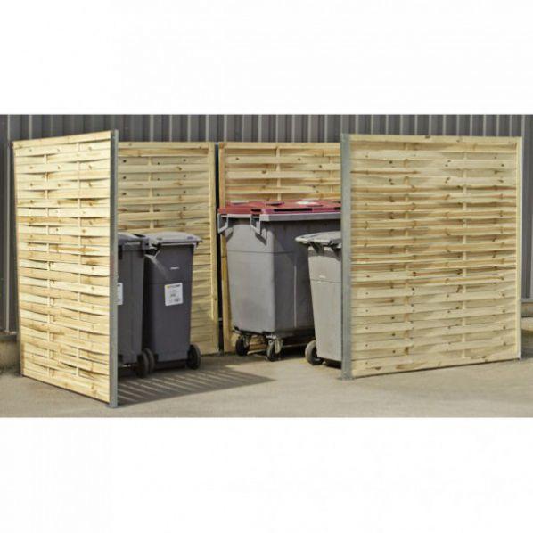 Cache conteneur d chets en bois avec retour roll for Conteneur bois