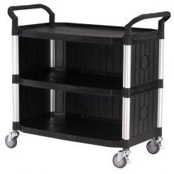 Servante multi-usage XL noire 3 plateaux 3 cotés