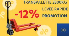 PROMOTION -12% sur le transpalette 2500KG levée rapide