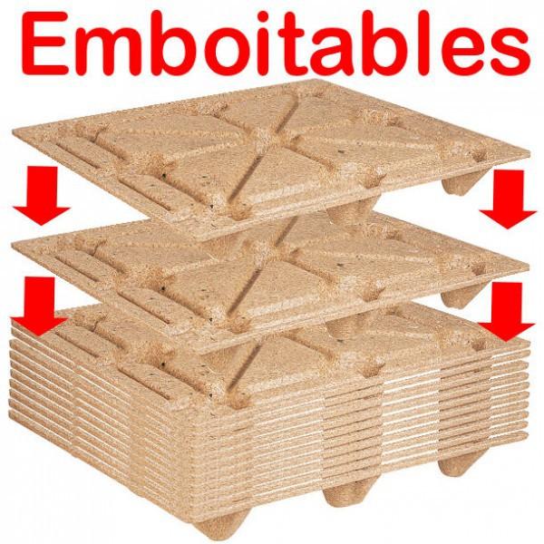 Palette moulée en bois emboitable