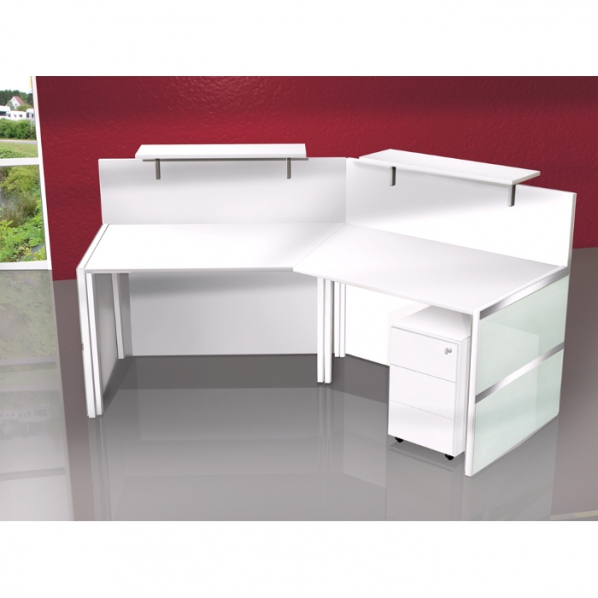 banque d 39 accueil modulaire design laqu blanc verre roll. Black Bedroom Furniture Sets. Home Design Ideas