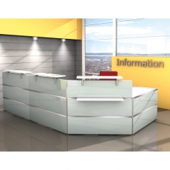 Banque d'accueil modulaire DESIGN - Laqué blanc/verre
