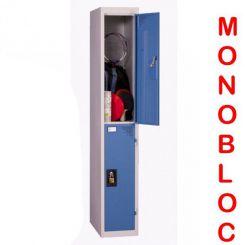 Vestiaire monobloc 1 colonne de 2 cases 400 mm