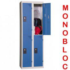 Vestiaire monobloc 2 colonnes de 2 cases 400 mm