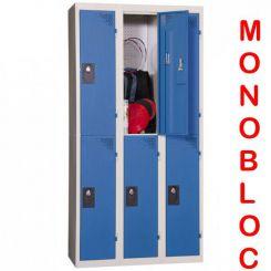 Vestiaire monobloc 3 colonnes de 2 cases 300 mm