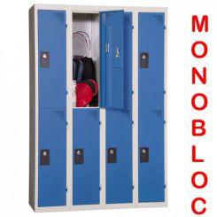 Vestiaire monobloc 4 colonnes de 2 cases 300 mm