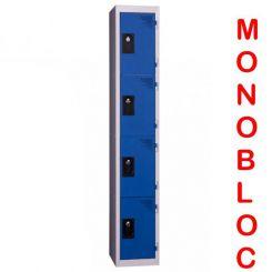 Vestiaire monobloc 1 colonne de 4 cases 400 mm