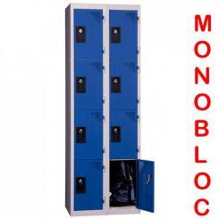 Vestiaire monobloc 2 colonnes de 4 cases 400 mm