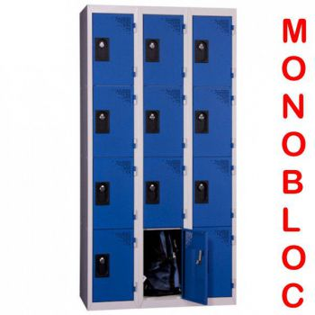 Vestiaire monobloc 3 colonnes de 4 cases 400 mm