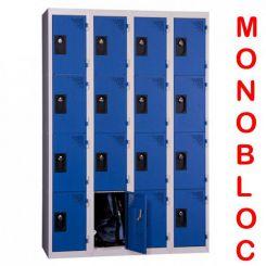 Vestiaire monobloc 4 colonnes de 4 cases 300 mm
