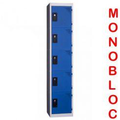 Vestiaire monobloc 1 colonne de 5 cases 400 mm