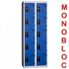 Vestiaire monobloc 2 colonnes de 5 cases 300 mm