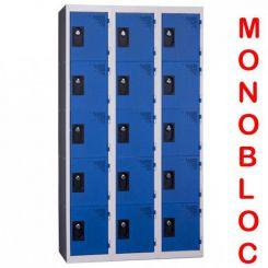 Vestiaire monobloc 3 colonnes de 5 cases 400 mm