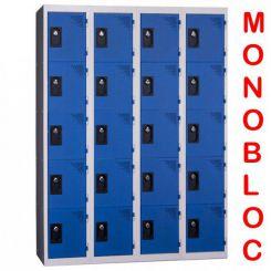 Vestiaire monobloc 4 colonnes de 5 cases 300 mm
