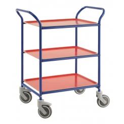 Chariot de service sur roues - 3 plateaux
