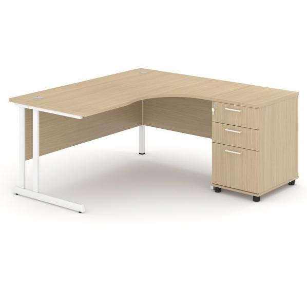 bureau modulable en mdf m lamin avec pi tement m tal roll. Black Bedroom Furniture Sets. Home Design Ideas