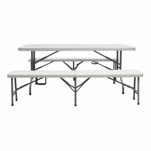 Table rectangle pliante + 2 bancs pliants