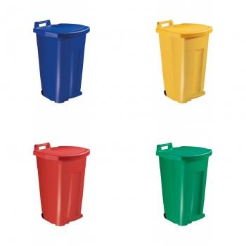 Poubelle mobile à pédale 90 litres - corps couleur