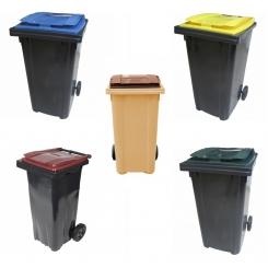 Conteneur poubelle bicolore - 240 litres