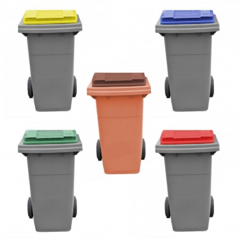 Conteneur poubelle bicolore - 80 litres