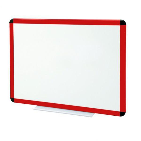 Tableau blanc émaillé cadre rouge - hauteur 1200 mm