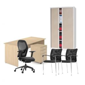 Pack mobilier de bureau avec bureau droit
