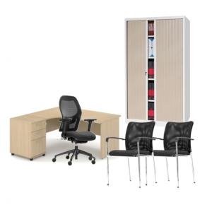 Pack mobilier de bureau - bureau avec retour gauche