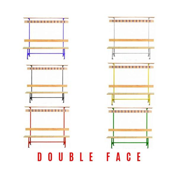 Banc double face - patère et porte-sacs – 2000 mm