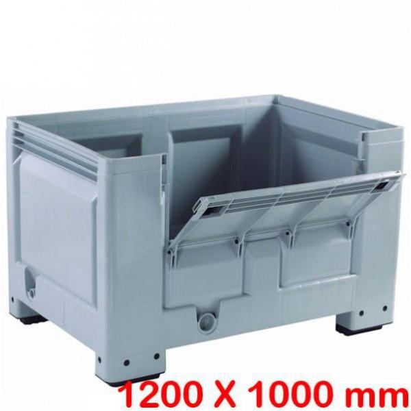 Caisse palette big box 1200 x 1000 mm avec demi-porte rabattable