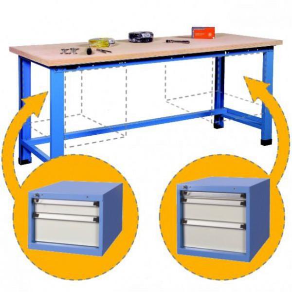 Établi d'atelier avec 2 blocs tiroirs