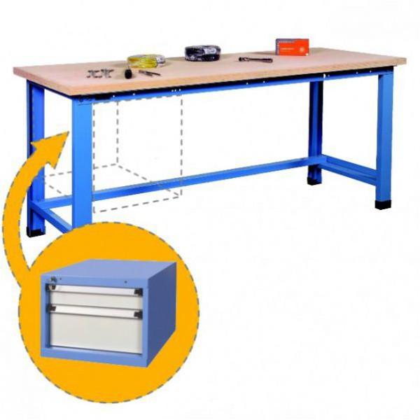 Établi d'atelier avec bloc 2 tiroirs