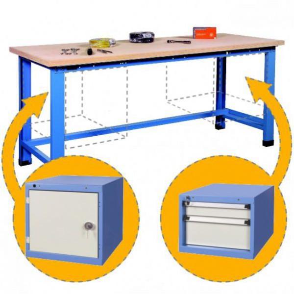 Établi d'atelier charges lourdes avec bloc tiroirs et porte