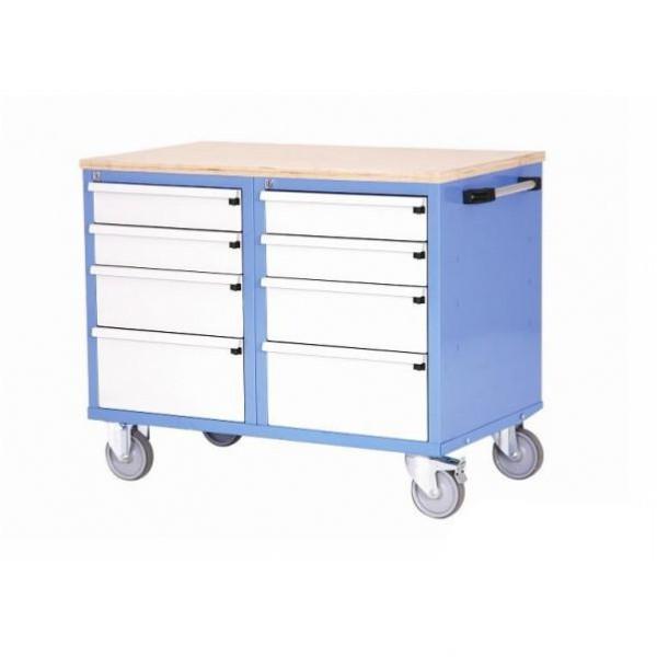 Établi d'atelier mobile 2 caissons à tiroirs