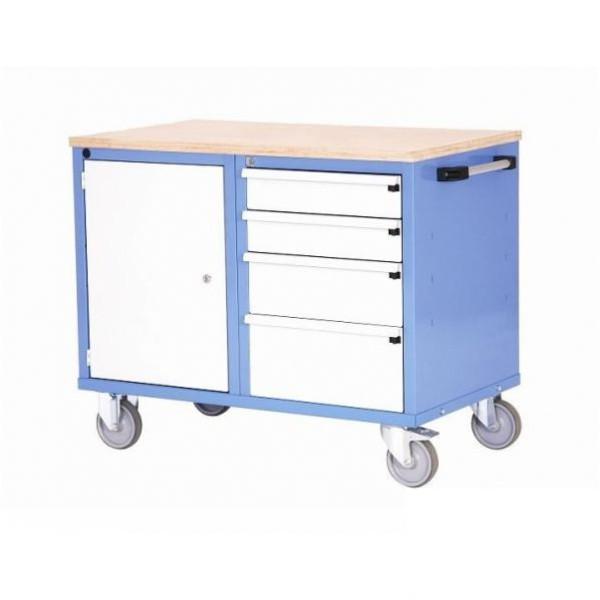 Établi d'atelier mobile tiroirs et étagère