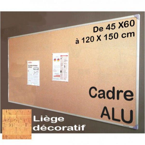 Tableau affichage liège décoratif encadrement alu