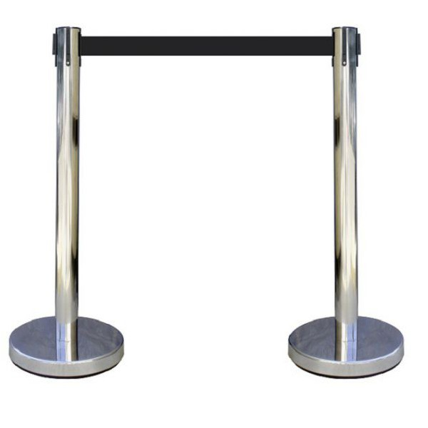 2 poteaux à sangles chrome 2 mètres - Economique