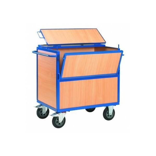 Chariot de stockage en bois avec couvercle