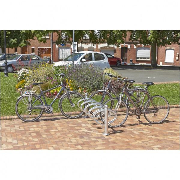 Range vélo au sol pour 10 vélos cote à cote 5 par face