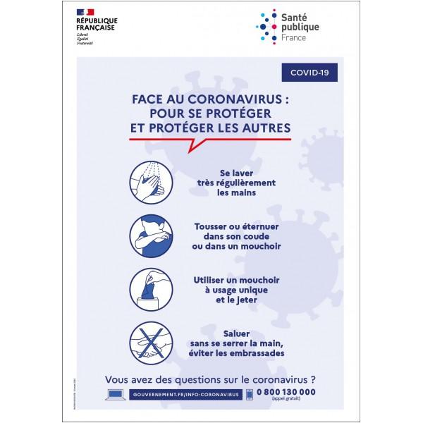 Panneau gestes barriere français