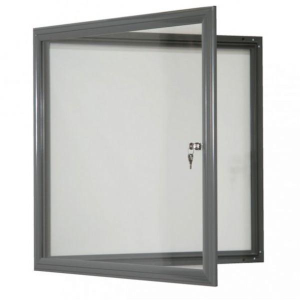Vitrine fine d'extérieur gris - vitre plexi