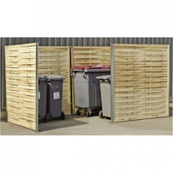 Cache conteneur à déchets en bois avec retour