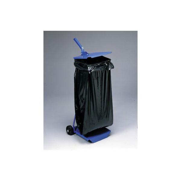 Support sac poubelle tôlé avec couvercle et roulettes