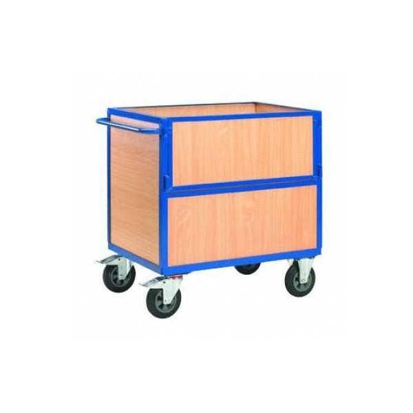 Chariot de stockage en bois avec côté rabattable