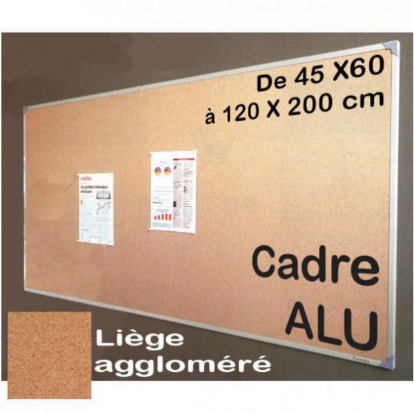 Tableau d'affichage en liège avec cadre alu