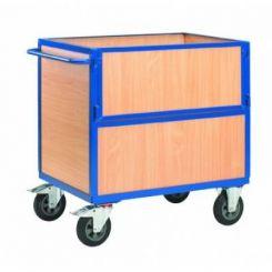Chariot de stockage en bois avec coté rabattable