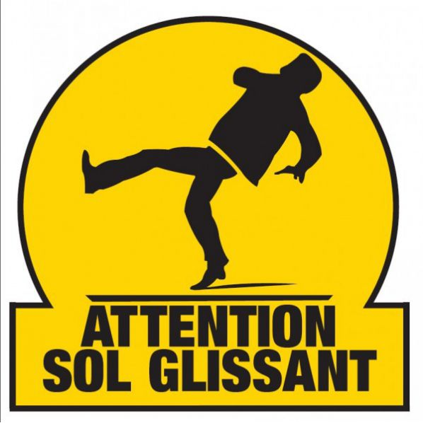 Marquage attention sol glissant sol roll - Panneau sol glissant ...