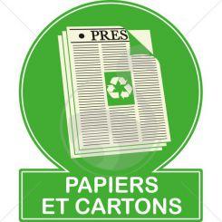 Pictogramme couleur recyclage des papiers et cartons