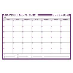 Planning mensuel perpétuel effaçable à eau sur PVC